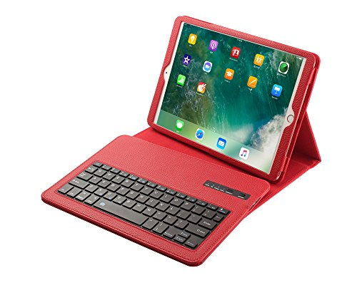 Price comparison product image 9.7 Keyboard Case iPad,TechCode Premium PU Leather Folio Stand Cover with Removable Wireless Bluetooth Keyboard for Apple iPad 2/ 3 /4, Red