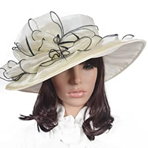 Women Floral Wide Brim Church Derby Kentucky Dress Hat (4 Colors)