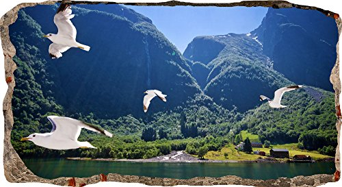 Startonight 3D Mural Wall Art Photo Decor Window Birds in the Air Amazing Dual View Surprise Large 32.28 inch By 59.06 inch Wall Mural Wallpaper for Living Room or Bedroom Nature Collection Wall Art