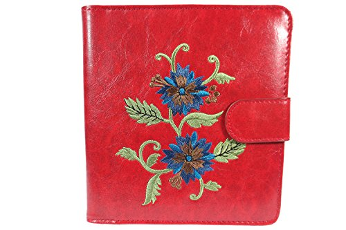 Lavishy Blue Flower Embroidered Womens Travel Passport Wallet (Red)