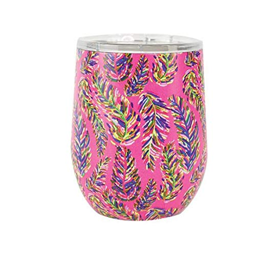 Mary Square Pink Purple Palm Frond Floral 12 Ounce Stainless Steel Coffee Double Wall Tumbler with Lid