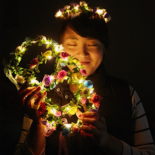 COSOON 4 Pcs LED Flower Wreath Headband - Crown Floral Garland Boho for Festival Wedding, Wreath Headdress with LED Decor T013
