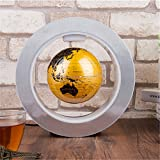 Floating Globe with Colored LED Lights Magnetic Levitation World Map with Round Shape Base Office Desk Decoration Home Decor Educational Gift for Kids Teachers Anti Gravity LED Light (Golden)