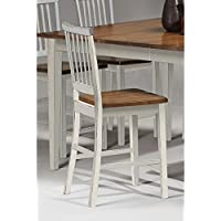 Gracewood Hollow Arlington Slat Back and Wood Seat Bar Stool (Set of 2) White