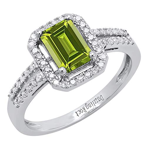 Dazzlingrock Collection 10K 7X5 MM Emerald Shape Peridot & Round White Diamond Ladies Engagement Ring, White Gold, Size 7 7x5 Emerald Shape Ring
