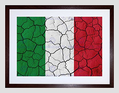 ABSTRACT FLAG CRACKED CONCRETE ITALY ITALIAN TRICOLOUR FRAMED PRINT - Delivery Royal Mail Guaranteed