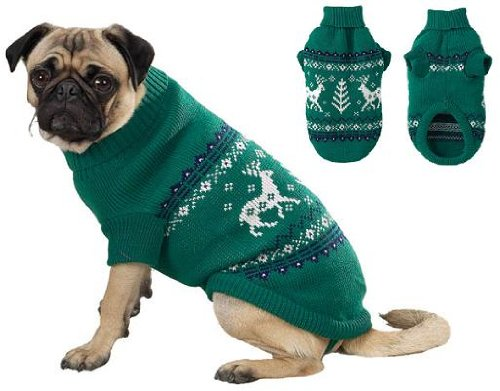 Caribou Sweater GREEN X-SMALL Dog Puppy Apparel