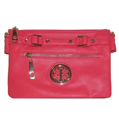 Belted Zipper Crossbody Handbag (Coral)