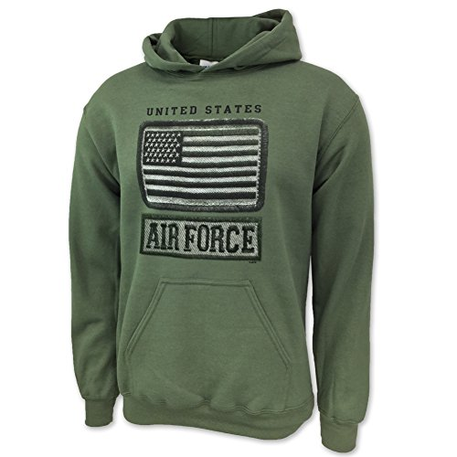 Air Force Hoodie Sweatshirt (US Air Force Tonal Flag Hood, large, green)