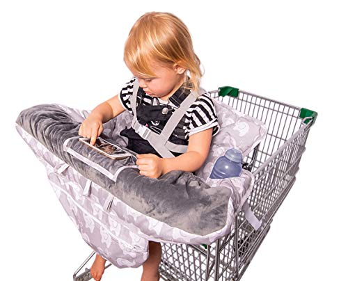 2-in-1 Baby Shopping Cart Cover and High Chair Protector - Germ-Protecting Seat Covers for Grocery Carts, Restaurant High-Chairs - Universal, Soft, Safe - Travel Gear for Babies, Infants by Tooshin Baby (Image #6)