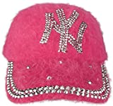 J.Ann Ladies Angora Military Cadet Style Hat with NY Rhinestones-Fuschia