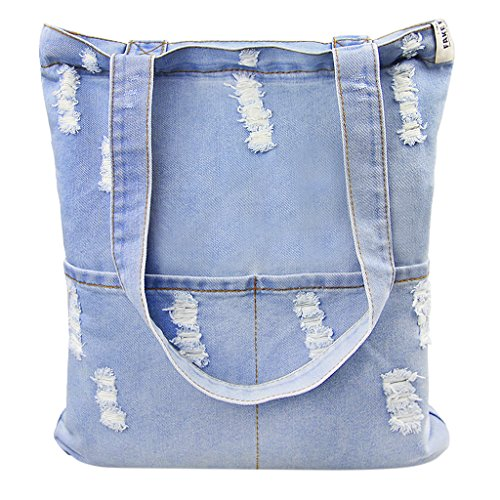 Casual Denim Handbag Shoulder Bag Purse Soft Jeans Shopping Bag Large Capacity Tote Holes Bag with Cell Phone Pouch for Girls Womens