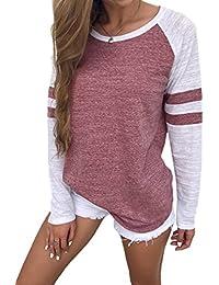 Women's Long Sleeve Baseball Tee Shirt Crew Neck Colorblock Striped Tops