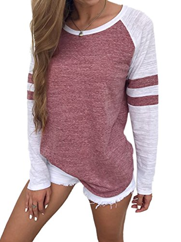 Famulily Womens Long Sleeve Baseball Tee Shirt Crew Neck Colorblock Striped Tops