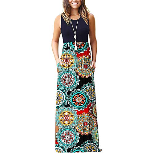 WEISUN Women Sleeveless Dress Floral Print Loose Maxi Dresses Casual Swing Dress with Pockets Navy