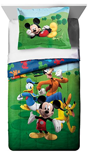 (Disney Mickey Mouse Club House Adventure Twin Comforter - Super Soft Kids Reversible Bedding features Mickey Mouse and Friends - Fade Resistant, Includes 1 Bonus Sham (Official Disney Product) )