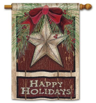 Happy Holiday Christmas Rtic Barn Star Outdoor Flag Designed by - Barn G L Christmas And