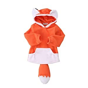 ALLAIBB Toddler Fox Costume Hoodie Baby 3D Cartoon Cute Hooded Outwear Jacket for Infant Kids Boys Girls 0-4T (Fox-Orange, 0-1T)