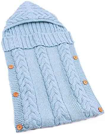 89b28e5cb1c Newborn Baby Sleeping Bag Knit Crochet Winter Hooded Stroller Swaddle  Blanket Soft Solid Wrap Knitted
