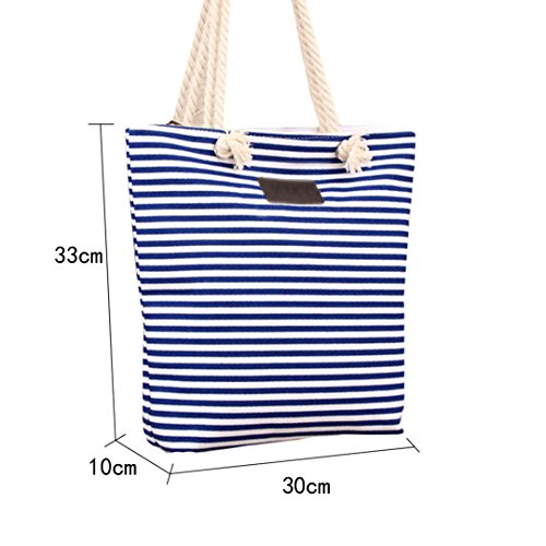 Women Tote Stripe Handbags Ladies Beach Summer Blue Zipper Canvas Millya Bag Shoulder dwRqYd