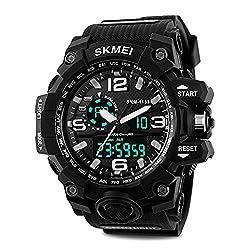 Mens Military Sport Digital Wrist Watch Kids Large Dual Dial Time EL Backlight Resin Band Watch Black