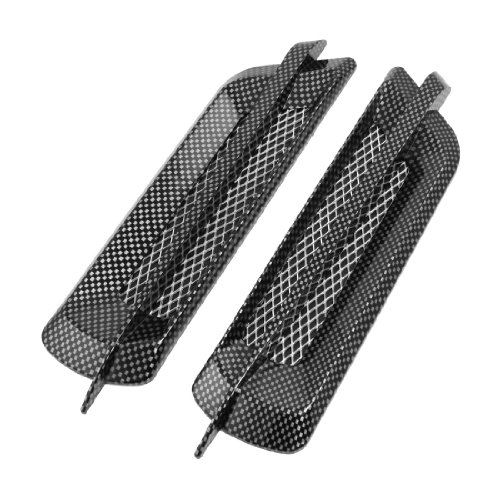 - uxcell 2 Pcs Carbon Fiber Pattern Plated Auto Car Hood Air Flow Vent Sticker Cover