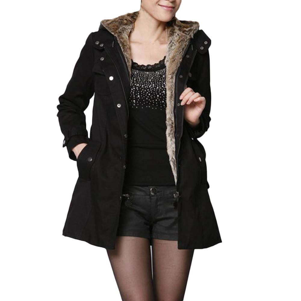 NUWFOR Military Outwear Coat Womens Hooded Warm Winter Faux Fur Lined Parkas Anroaks Long Coats for Winter(Black,S)