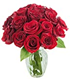 #7: KaBloom Valentine's Day Special: Romantic Red Rose Bouquet of 18 Fresh Cut Red Roses (Long Stemmed) with Vase