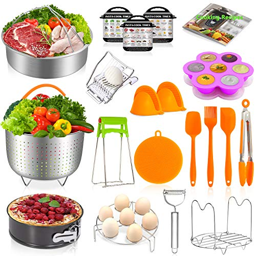 Instant Pot Accessories Set,20 Pcs Pressure Cooker Accessories Set for 5,6,8 Qt,Non-stick Springform Pan, Egg Slicers,Peeler,Steamer Baskets, Egg Bites Mold,Egg Steamer Rack