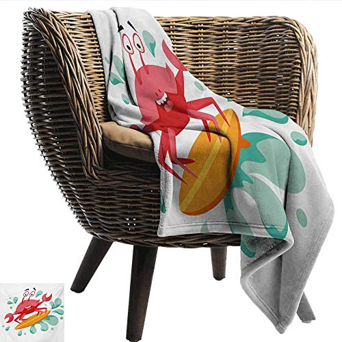 (EwaskyOnline Ride The Wave Nap Blanket Caricature Crab Surfing in The Sea Sports Adventure Illustration Throw Blanket Adult Blanket 84