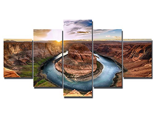 Bedroom Colorado River Paintings 5 Panel Canvas Wall Art Native American Landscape Picture Modern Artwork Home Decor for Living Room Giclee Framed Ready to Hang(60''Wx32''H) ()