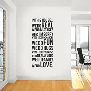 Annong Wall Decals & Stickers - In This House We Are A Family Removable Wall Stickers Home Decals Decor Quote Art Vinyl Bedroom