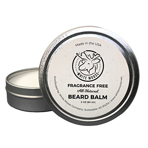 Premium Beard Balm 100% Natural Leave-In Beard Conditioner - Fragrance Free - New Luxury Blend of Wax, Oils and Butters - 2oz - Made in the USA - by White Moose