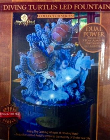 Newport Coast Collection Diving Turtles LED Tabletop Fountain