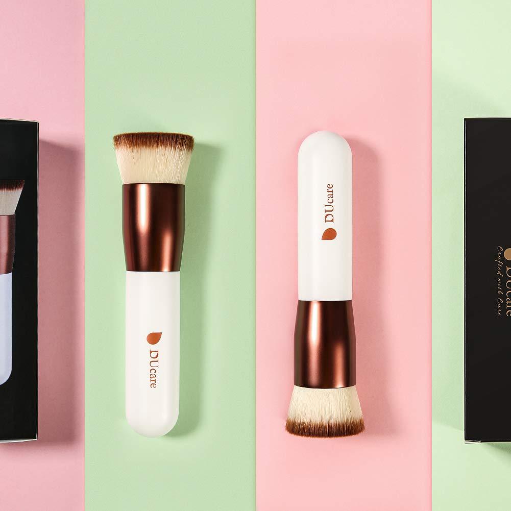 DUcare Flat Top Kabuki Foundation Brush, Synthetic Professional Liquid Blending Mineral Powder Makeup Tools, Rose Golden/White: Beauty