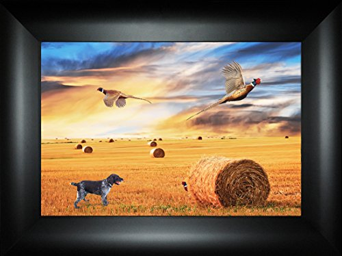 Standoff By Todd Thunstedt 18x24 Drahthaar Dog German Wirehaired Pointer Hunting Outfitter Lodge Goose Quail Grouse Partridge Decoy Mallard Duck Blind Field Framed Art Print Wall Décor Picture