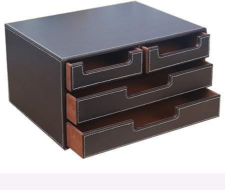 LXYWJJ Carpetas Carpeta de cajones de Escritorio de Tres Niveles, archivador de Cuero Creativo, Caja de Almacenamiento de Archivos de Oficina de múltiples Capas A4 Caja de Archivo (Color : Brown): Amazon.es: