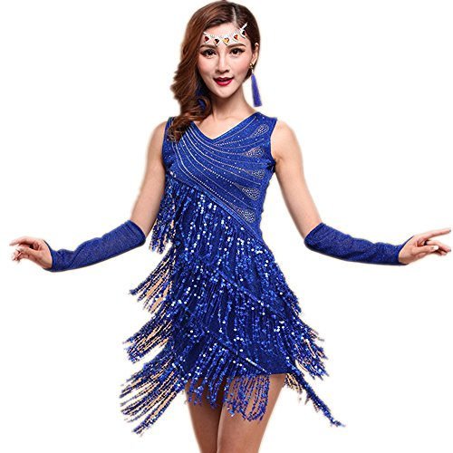WILLLIN-Womens-Black-Red-Blue-Ballroom-Latin-Tango-Rumba-Cha-Cha-Samba-Dance-Dress-XL-Royal-Blue