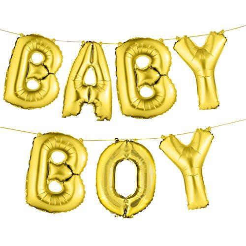 "envizins Gold Baby boy Shower Letters foil Balloons 16"""