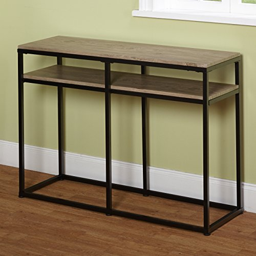 Target Marketing Systems Piazza Collection Modern Reclaimed Sofa Table With Open Shelves, Wood/Metal