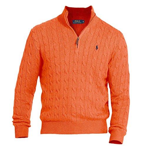 Cable Half Zip Sweater (Polo Ralph Lauren Mens Cable Knit 1/2 Zip Mock Turtleneck Sweater Orange L)