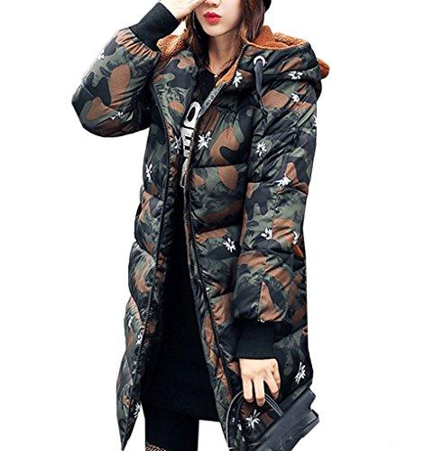 [美しいです] レディース コート フード付き ひざ丈 かわいいみみ 冬 軽量 厚手 防寒 防風 カジュアル ダウンコート 保温性 迷彩
