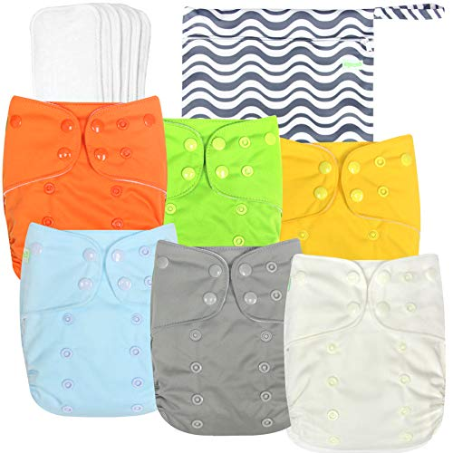 Wegreeco Washable Reusable Baby Cloth Pocket Diapers 6 Pack + 6 Bamboo Inserts (with 1 Wet Bag, Vibrant)