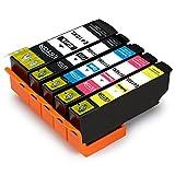 ESTON 5 Pack Compatible Ink Cartridge Replacement for Epson 410XL 410 XL T410XL020 (1 Black, 1 Photo Black, 1 Cyan, 1 Magenta, 1 Yellow) for Epson Expression XP-830 XP-630 XP-530 XP-635 XP-640