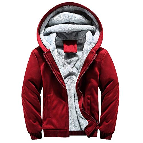 Christmas Mens Back Owl Hoodie Winter Warm Thick Fleece Zipper Sweater Jacket Outwear Open Front Coat Tops Blouse (Red, M)