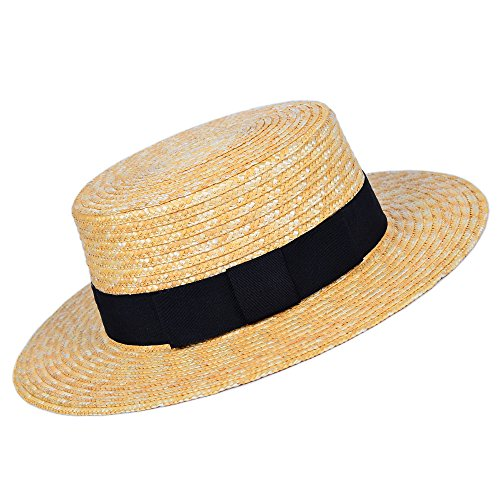 Adult Boater Costumes (MATCH MUCH Boater Hat Wheat Straw Hard Brim)