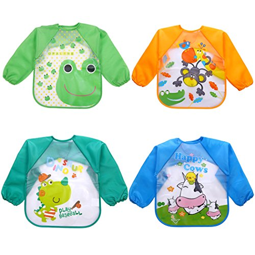 Pcs Baby Waterproof Sleeved Bibs for 1-5 Years Old Toddler ()