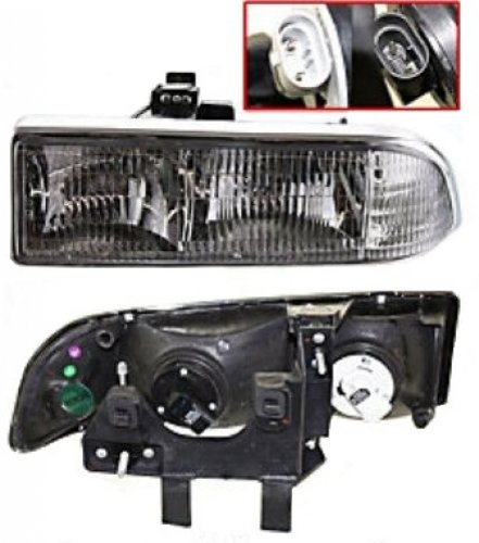Discount Starter and Alternator GM2502172 Replacement Headlight Fits Chevrolet S10 Driver Side Plastic Lens With Bulbs