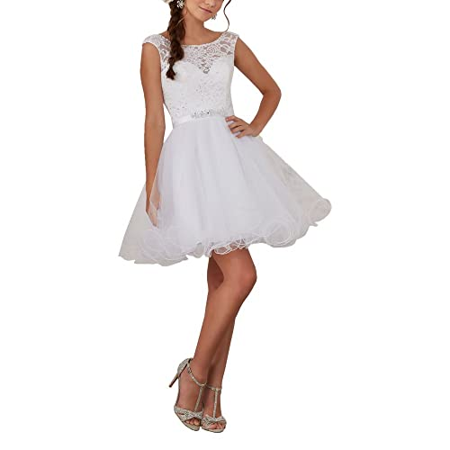 Women's Lace Beaded Sweet 15 Short Quinceanera Court Prom Dresses