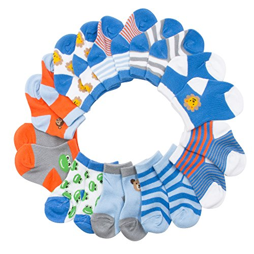 BARE HUGS Infant Boys 10 Pk All Weather Multicolored Low Cut Socks Pets and Stripes 12-24 Mos from BARE HUGS